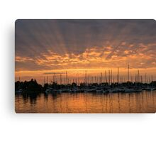 Just a Sliver of the Sun - Sunrise God Rays at the Marina Canvas Print