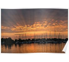 Just a Sliver of the Sun - Sunrise God Rays at the Marina Poster