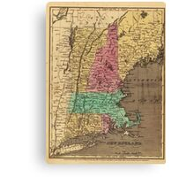 Vintage Map of New England (1836) Canvas Print