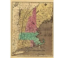 Vintage Map of New England (1836) Photographic Print