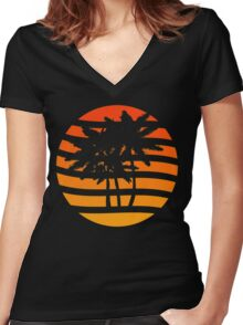 Palm Trees Grunge Sunset Women's Fitted V-Neck T-Shirt
