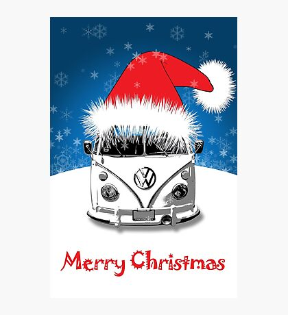 VW Camper Merry Christmas Card Photographic Print