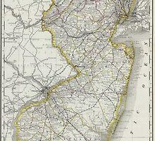 Vintage Map of New Jersey (1889) by BravuraMedia