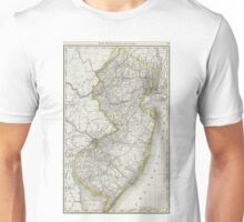 Vintage Map of New Jersey (1889) Unisex T-Shirt