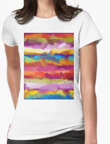 Colorful Pastel Abstract Art Womens Fitted T-Shirt