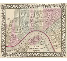 Vintage Map of New Orleans (1880) Photographic Print