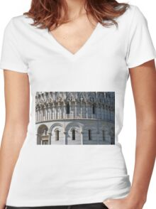 Detail of the Baptistery building in Piazza dei Miracoli Square of Miracles, Pisa, Tuscany, Italy Women's Fitted V-Neck T-Shirt