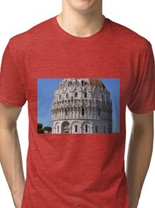 Detail of the Baptistery building in Piazza dei Miracoli (Square of Miracles), Pisa, Tuscany, Italy Tri-blend T-Shirt