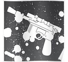 Han Solo Blaster Paint Splatter (White) Poster