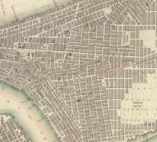 Vintage Map of Lower New York City (1840) Sticker