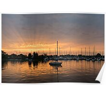 Silky Sunrays Sailboat - a Gorgeous Sunrise at a Marina Poster