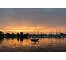 Silky Sunrays Sailboat - a Gorgeous Sunrise at a Marina Photographic Print