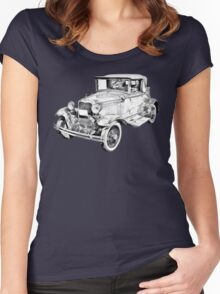 Model A Ford Roadster Antique Car Illustration Women's Fitted Scoop T-Shirt