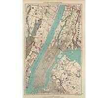 Vintage Map of New York City (1890) Photographic Print