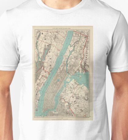 Vintage Map of New York City (1890) Unisex T-Shirt
