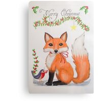 Little Christmas fox with bird Canvas Print
