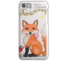 Little Christmas fox with bird iPhone Case/Skin