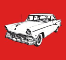 1956 Ford Custom Line Antique Car Illustration One Piece - Short Sleeve