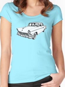 1956 Ford Custom Line Antique Car Illustration Women's Fitted Scoop T-Shirt