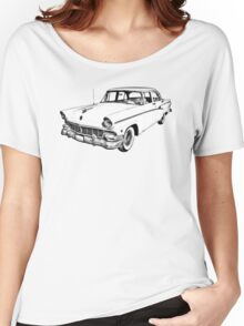1956 Ford Custom Line Antique Car Illustration Women's Relaxed Fit T-Shirt