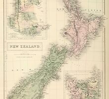 Vintage Map of New Zealand (1854) by BravuraMedia