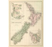 Vintage Map of New Zealand (1854) Photographic Print