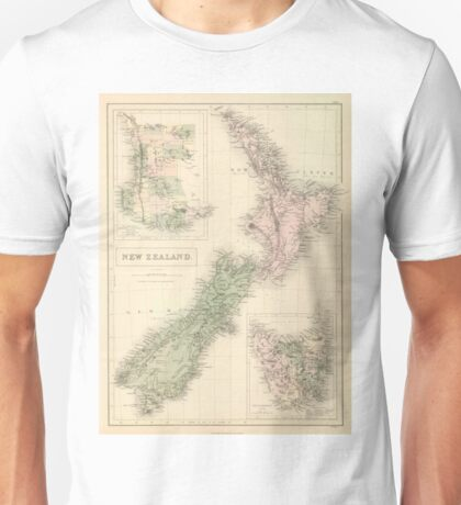 Vintage Map of New Zealand (1854) Unisex T-Shirt
