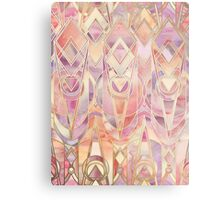 Glowing Coral and Amethyst Art Deco Pattern Metal Print