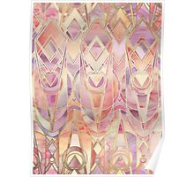 Glowing Coral and Amethyst Art Deco Pattern Poster