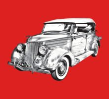 1936 Ford Phaeton Convertible Illustration  One Piece - Short Sleeve
