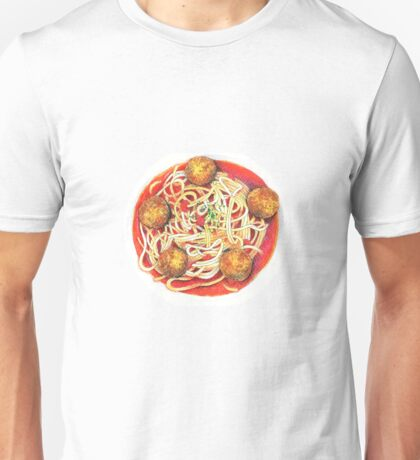 Spaghetti with meatballs illustration Unisex T-Shirt