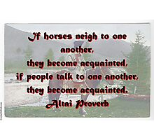 If Horses Neigh To One Another - Altai Proverb Photographic Print