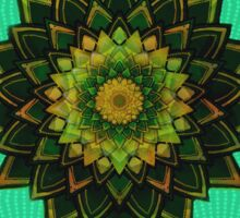 green abstract mandala flowers Sticker