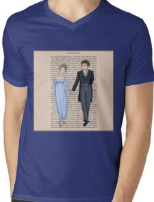 Elizabeth Bennet and Mr Darcy Mens V-Neck T-Shirt
