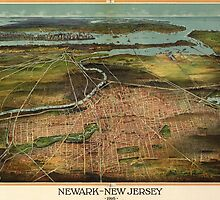 Vintage Pictorial Map of Newark NJ (1916) by BravuraMedia