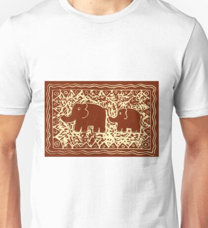 Elephant and Calf Lino (brown) Unisex T-Shirt