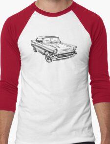 1957 Chevy Belair Illustration Men's Baseball ¾ T-Shirt