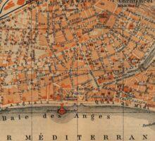 Vintage Map of Nice France (1914) Sticker