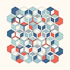 Soft Red, White & Blue Hexagon Pattern Play by micklyn