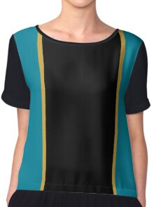 Teal Black and Gold Vertically-Striped Chiffon Top