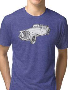 MG Convertible Antique Car Illustration Tri-blend T-Shirt