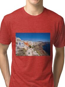 Santorini Caldera Vista From Oia Tri-blend T-Shirt
