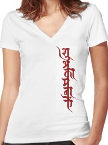 Shubhkamnayein means Blessings 1 Women's Fitted V-Neck T-Shirt