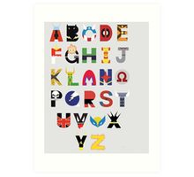 marvel superhero alphabet Art Print