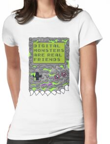 Digital Monsters Are Real Friends! Womens Fitted T-Shirt