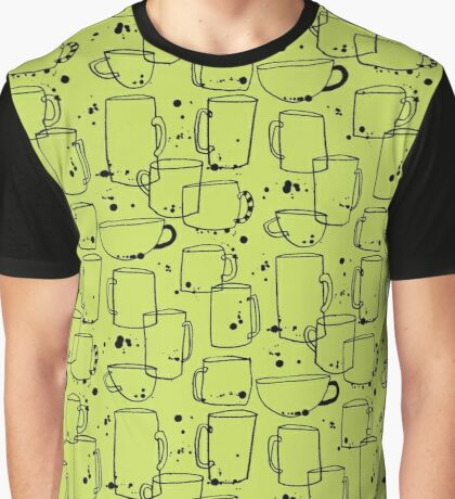 Quirky Ink and Splatters Coffee Cups Graphic T-Shirt