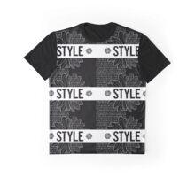 STYLE, écriture, noir et blanc, fleurs Graphic T-Shirt