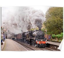 "Double headed Stanier ""Black Five"" locomotives thunder through Hindley station Poster"