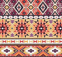Seamless colorful pattern in tribal style by tomuato