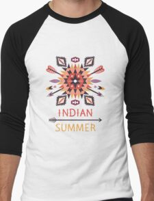 Seamless colorful pattern in tribal style Men's Baseball ¾ T-Shirt